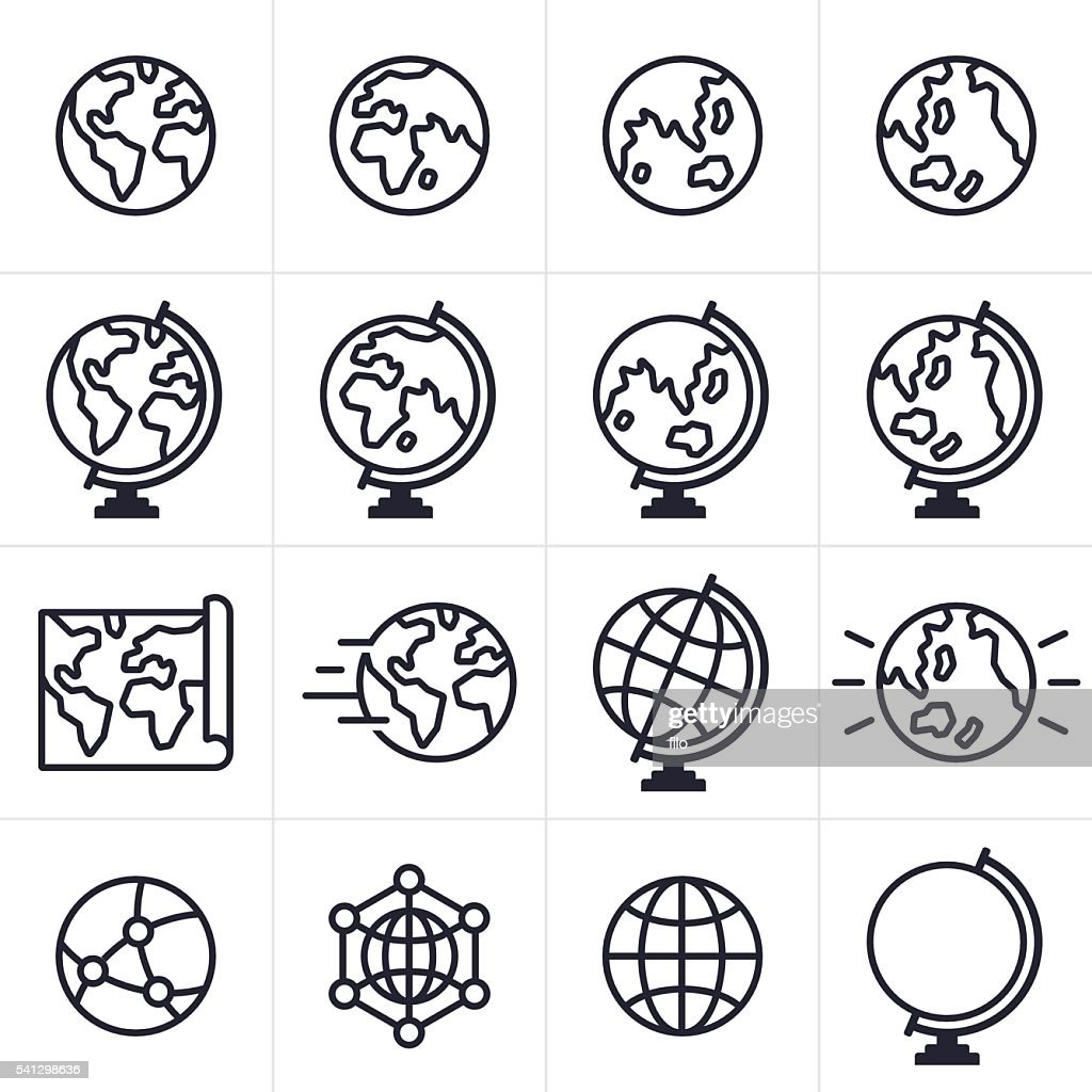 Globe and Earth Icons and Symbols : stock illustration