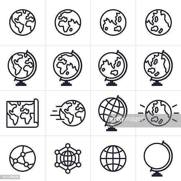 globe and earth icons and symbols - global stock illustrations