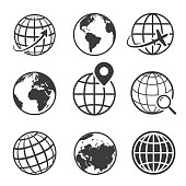 Globe and earth planet black icon set