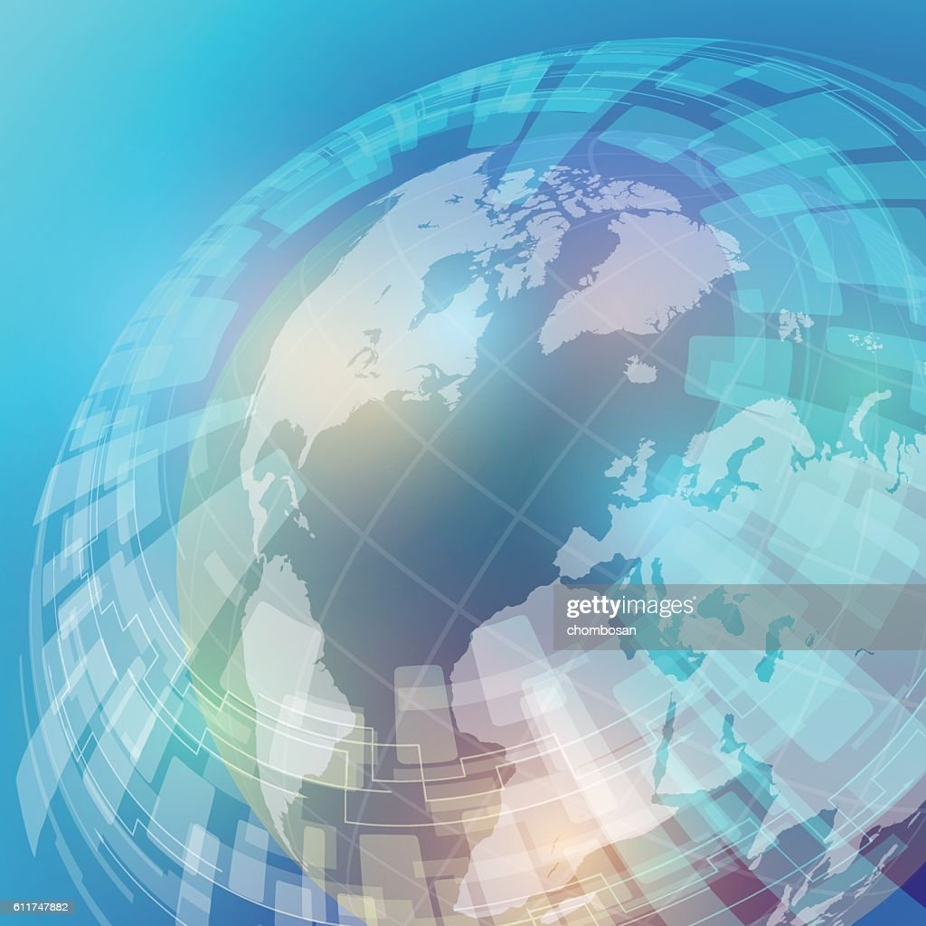 globe and world map, abstract image, vector illustration