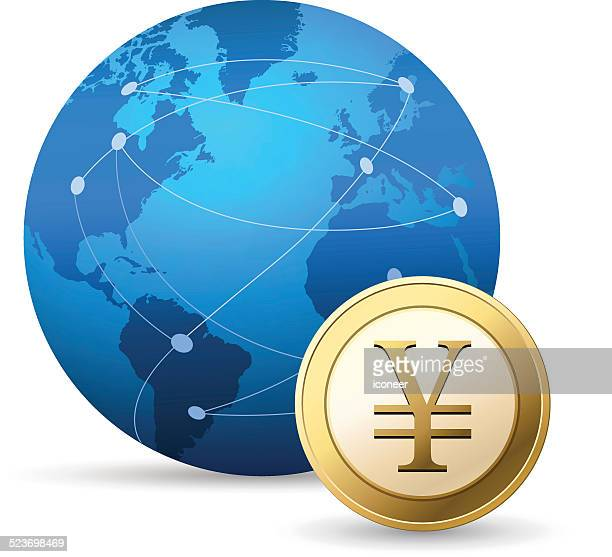 Globe and Yen coin on white background