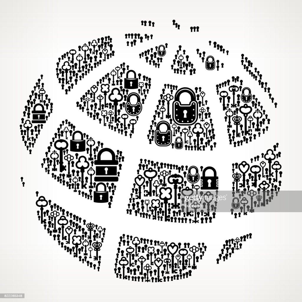Globe  Antique Keys Black and White Vector Pattern : stock illustration
