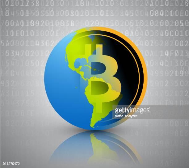 世界 bitcoin - ビットコイン点のイラスト素材/クリップアート素材/マンガ素材/アイコン素材