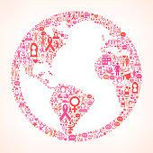 Globe Breast Cancer Awareness royalty free vector art