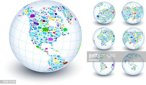globe collection with dialogue box on white background - ghana stock illustrations, clip art, cartoons, & icons