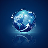 Globe connections network design on blue background
