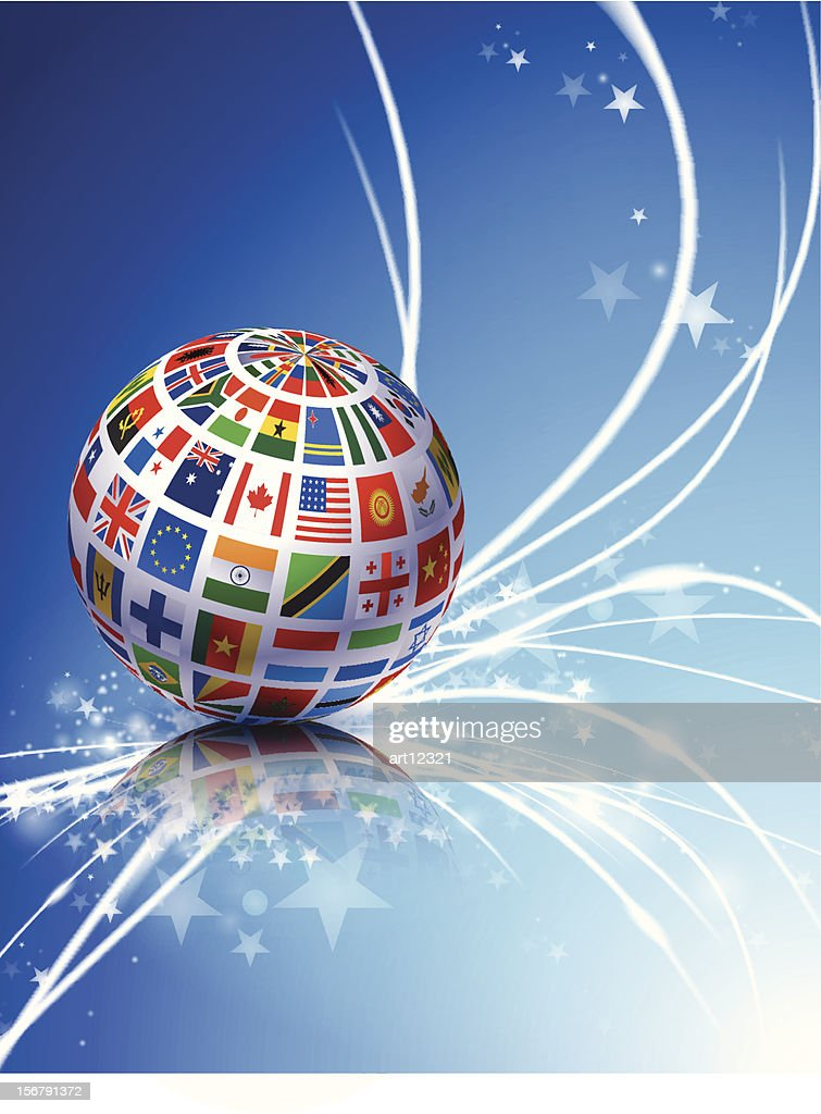 Globe covered in world flags on abstract background