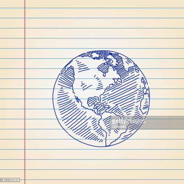 Globe Drawing on Ruled Paper