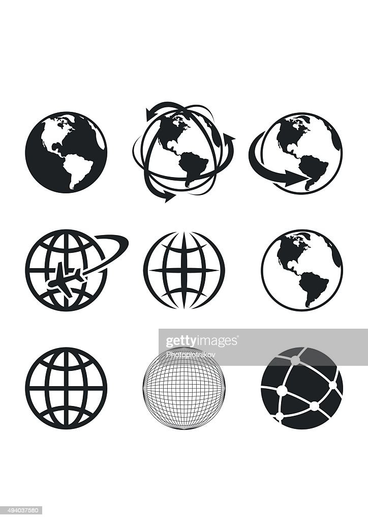 Globe Earth Icons Set. Vector Illustration
