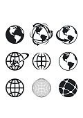 Globe Earth Icons Set. Vector Illustration