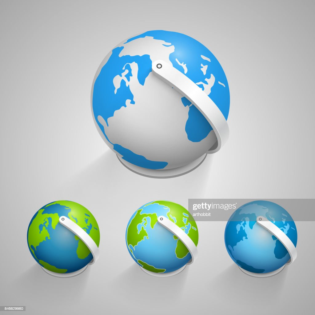 Globe earth icons set. Vector
