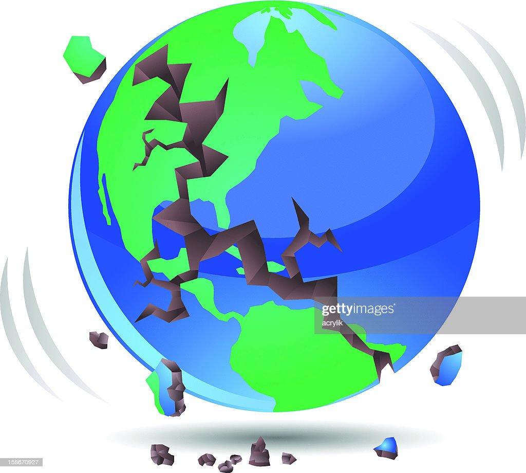 Globe Earthquake with Cracks Vector