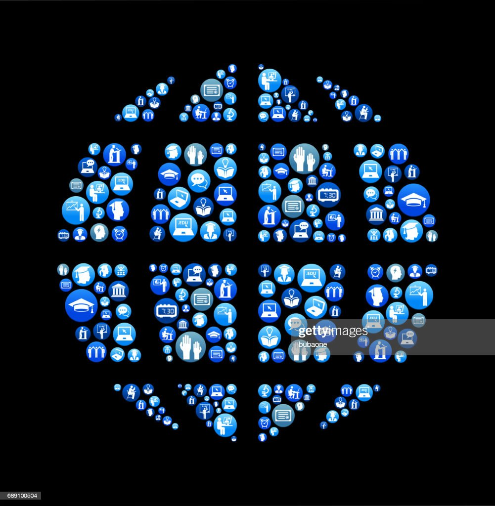 Globe E-learning and College Education Blue Button Pattern : Stock Illustration