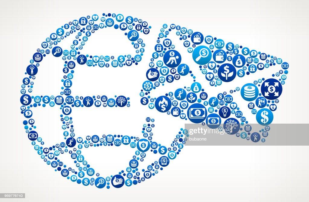 Globus Umschlag Geld blaues Symbol Muster Hintergrund : Stock-Illustration