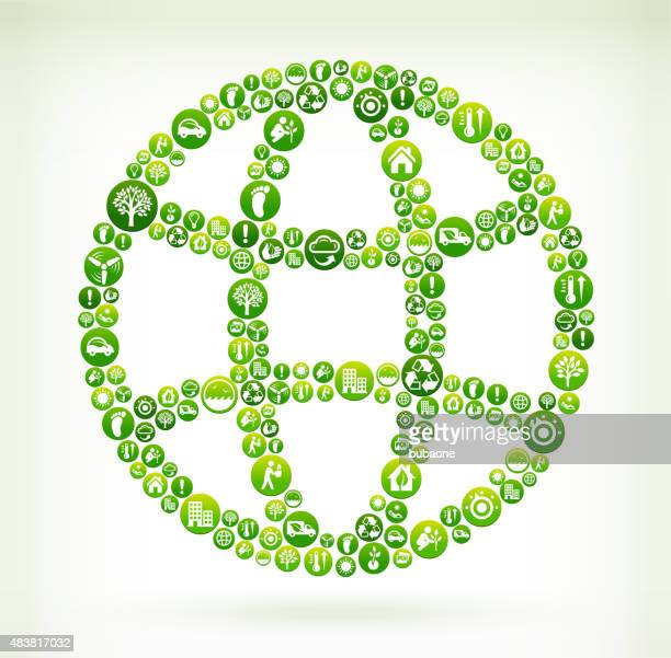 Globe Environmental Conservation Green Vector Button Pattern.