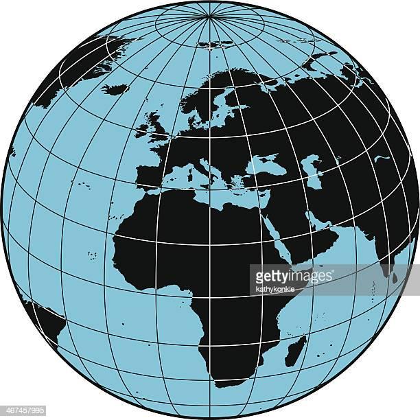 globe europe and africa - latitude stock illustrations
