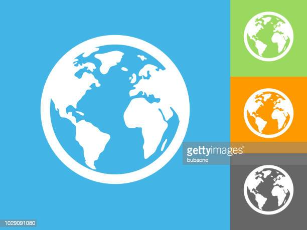 globe  flat icon on blue background - global stock illustrations