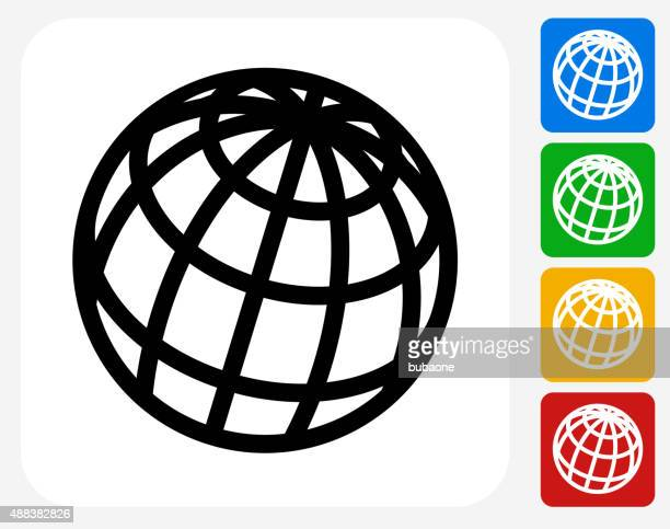 ilustrações, clipart, desenhos animados e ícones de plana ícone do globo de design gráfico - www