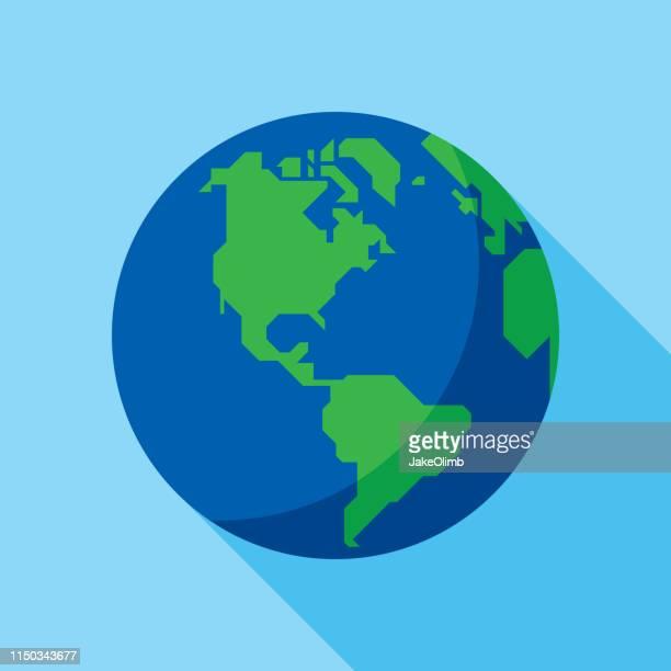 globe icon flat - earth day stock illustrations