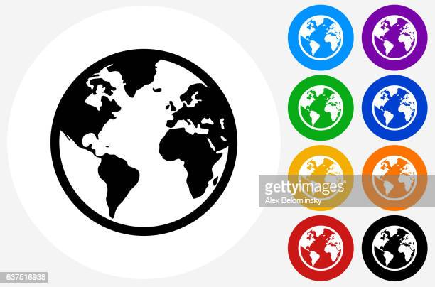 Globe Icon on Flat Color Circle Buttons