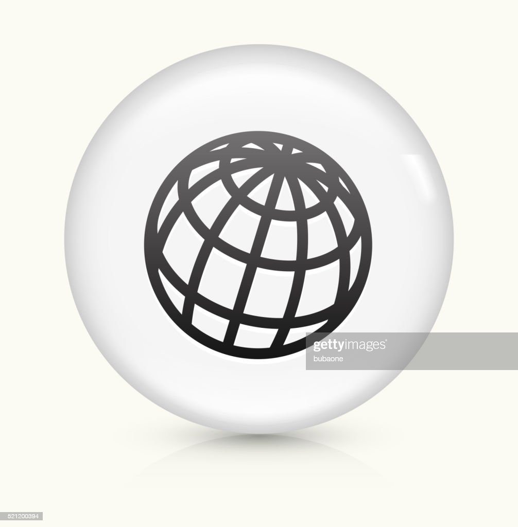Globe Icon On White Round Vector Button Vector Art | Getty Images