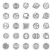 Globe, icon set. Planet Earth, world map in different variations, linear icons. Editable stroke