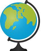 Globe icon. Vector illustration in flat design.