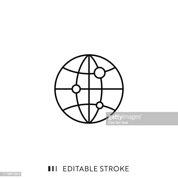globe icon with editable stroke and pixel perfect. - global stock illustrations
