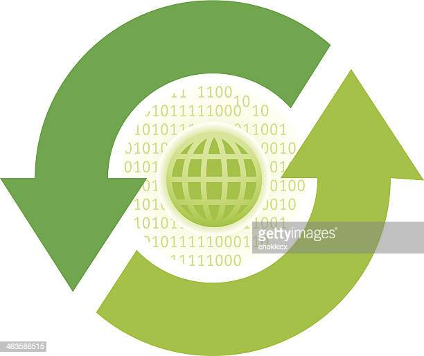 globe icon with refresh green arrows