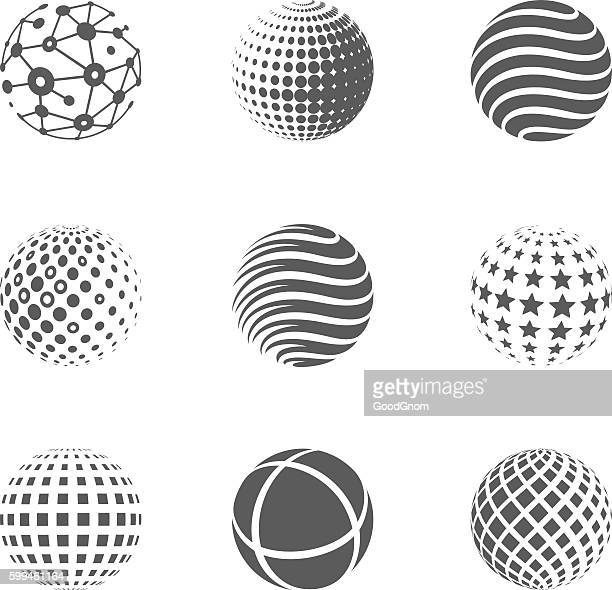 globe icons - sphere stock illustrations