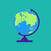 Globe isolated on green background