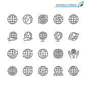 Globe line icons. Editable stroke. Pixel perfect.