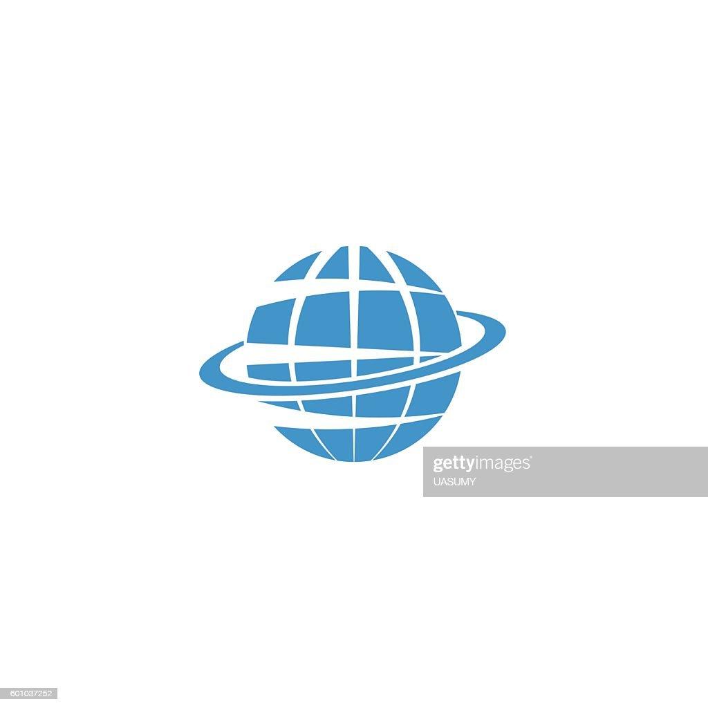 Globe logo, blue symbol Earth, internet travel icon