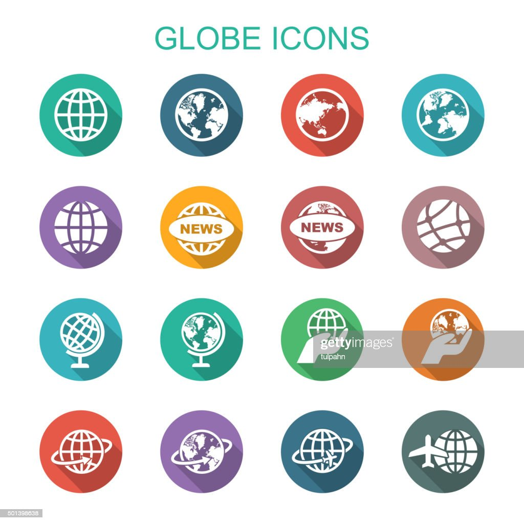 globe long shadow icons