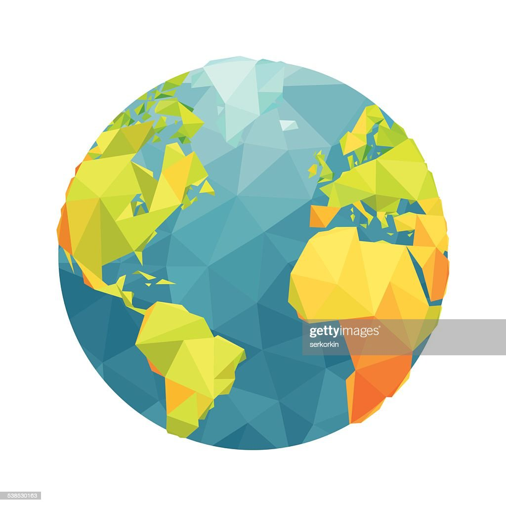 Globe map - abstract geometric vector illustration.