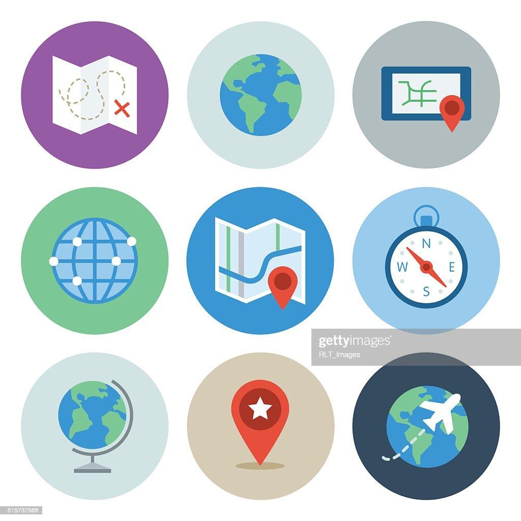 Globe & Map Icons — Circle Series : Stock Illustration