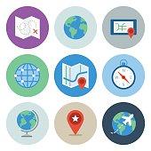 Globe & Map Icons — Circle Series