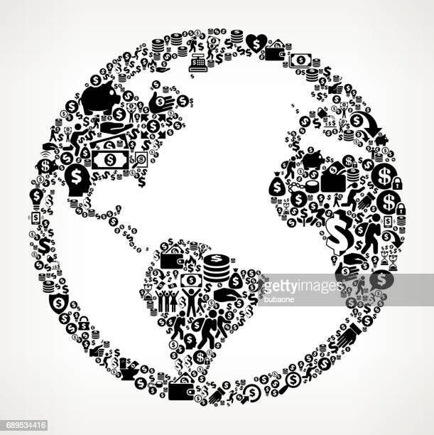 globe  money and finance black and white icon background - financial technology stock illustrations, clip art, cartoons, & icons