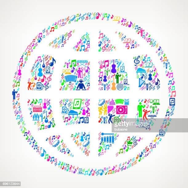 Globe  Music and Musical Celebration Vector Icon Background