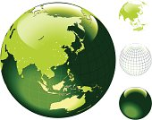 Globe of the World with hi detailed shore outline. Asia