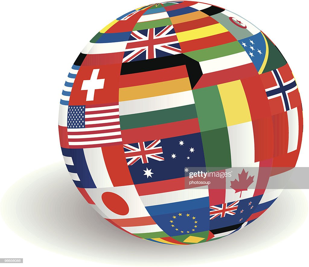 Globe of world flags