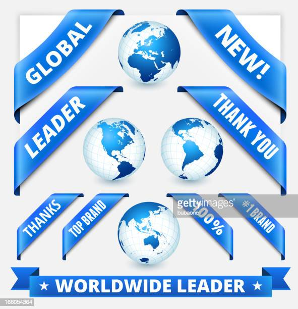globe on business communication concept with banners - thank you phrase stock illustrations