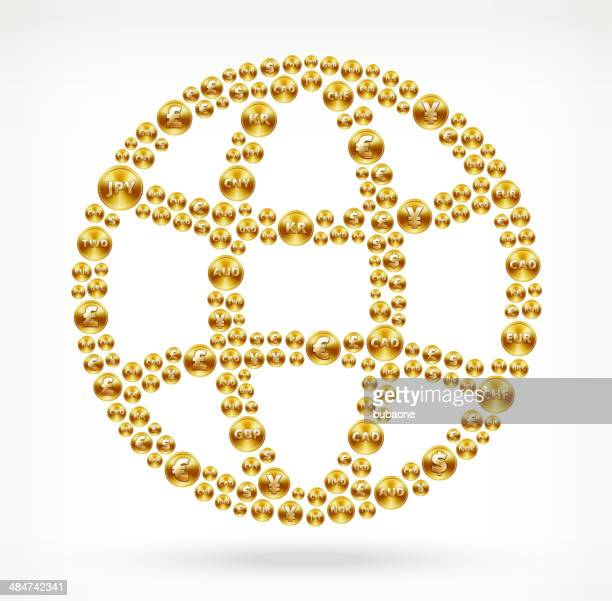 globe on gold coin buttons - fiscal year stock illustrations