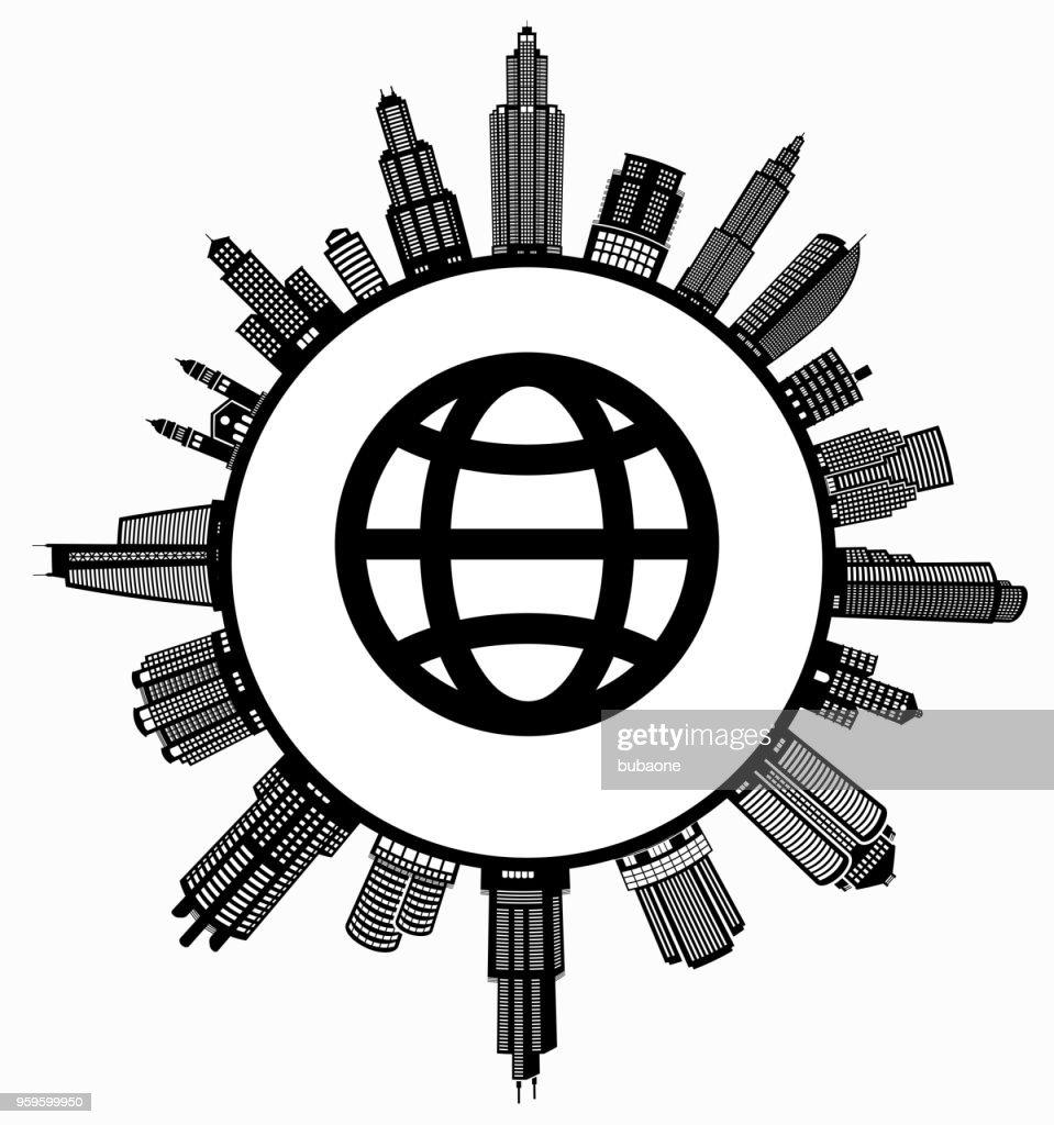 Globus auf modernen Stadtbild Skyline Hintergrund : Stock-Illustration