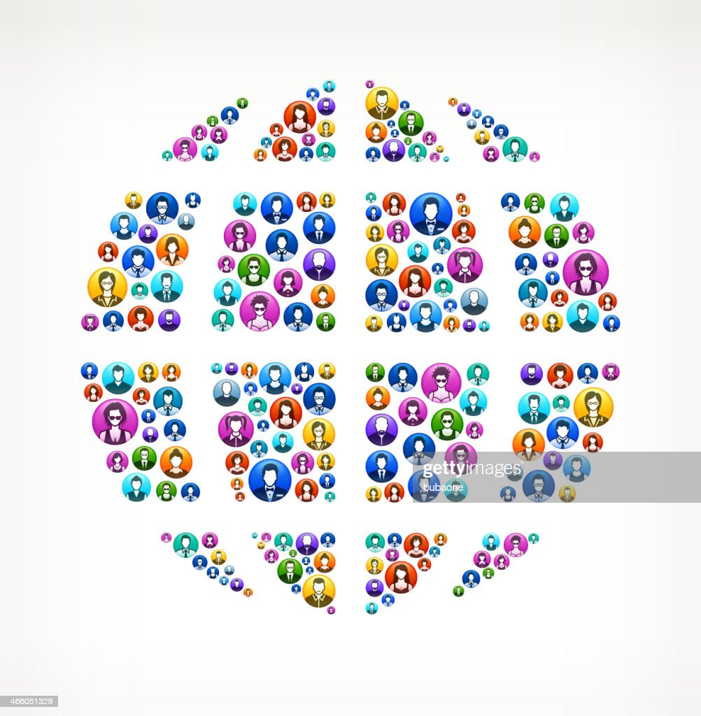Globe on People Buttons : Vector Art