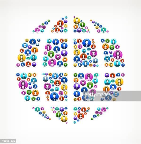 globus auf menschen knöpfen - piktogramm collage stock-grafiken, -clipart, -cartoons und -symbole
