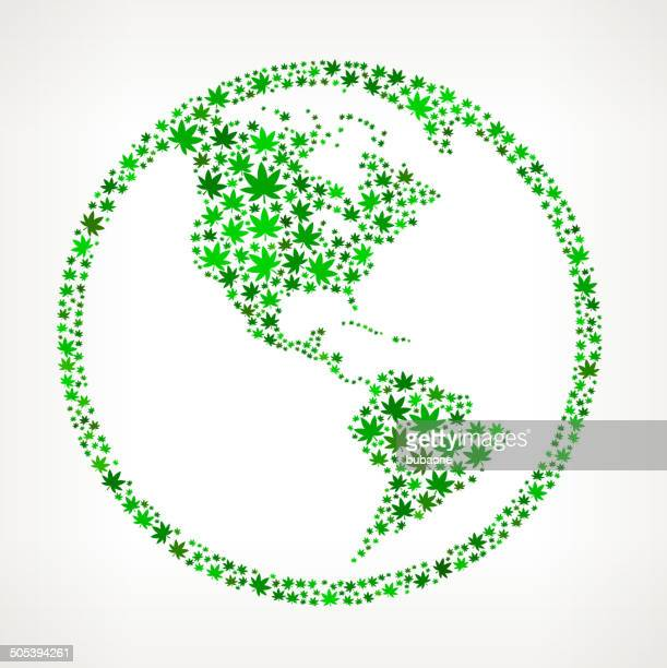 Globe on Weed royalty free vector art Pattern