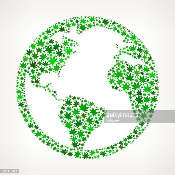 globe on weed royalty free vector art pattern - hemp stock illustrations, clip art, cartoons, & icons