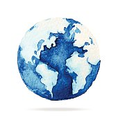 Globe painted with watercolors on paper.