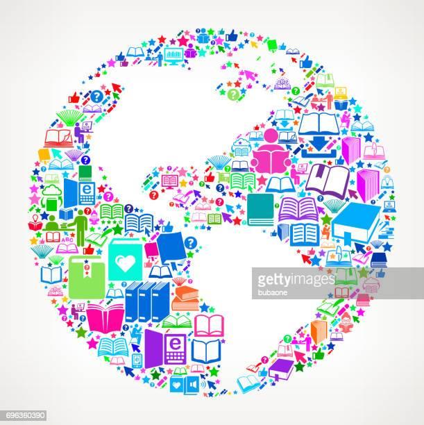 globe bücher lesen und bildung vektor icon hintergrund - piktogramm collage stock-grafiken, -clipart, -cartoons und -symbole